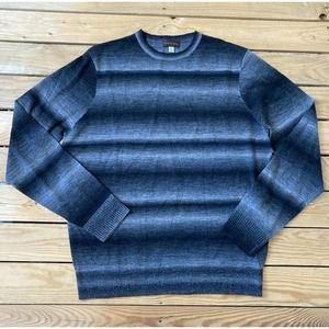 New THOMAS DEAN Striped Wool Crewneck Sweater L
